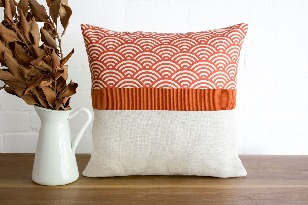 Modern rustic throw pillow cushion cover in rust red geometric
