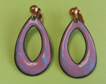 Vintage Copper and Enamel Clip On Earrings