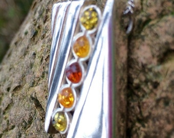 Free Shipping - Sterling 925 Silver Genuine Baltic Amber Pendant, Healing Crystals and Stones