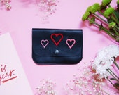 hearts embroidery leather coin purse, embroidery purse, coin purse, credit card holder, mother's day