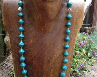 Paper Bead Necklace - Jade Green
