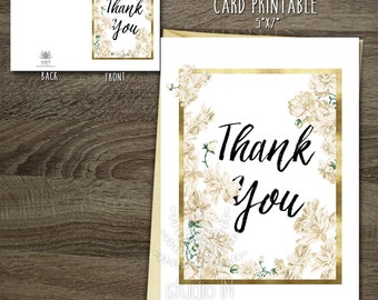 Printable Thank You Card, Floral Thank You Card DIY, Flower stationery, wedding thank you, Birthday Thank you card printable