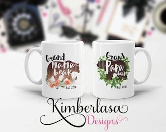 grand mama bear mug | grand papa bear mug | pregnancy reveal | fathers day | mothers day | dad mug | dad gift | bear mug | gift for parents