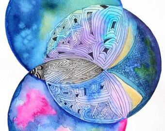 Original Watercolor print 8x10'', Art Print, Watercolor print, Geometric globes watercolor, Watercolor art, housewarming gift