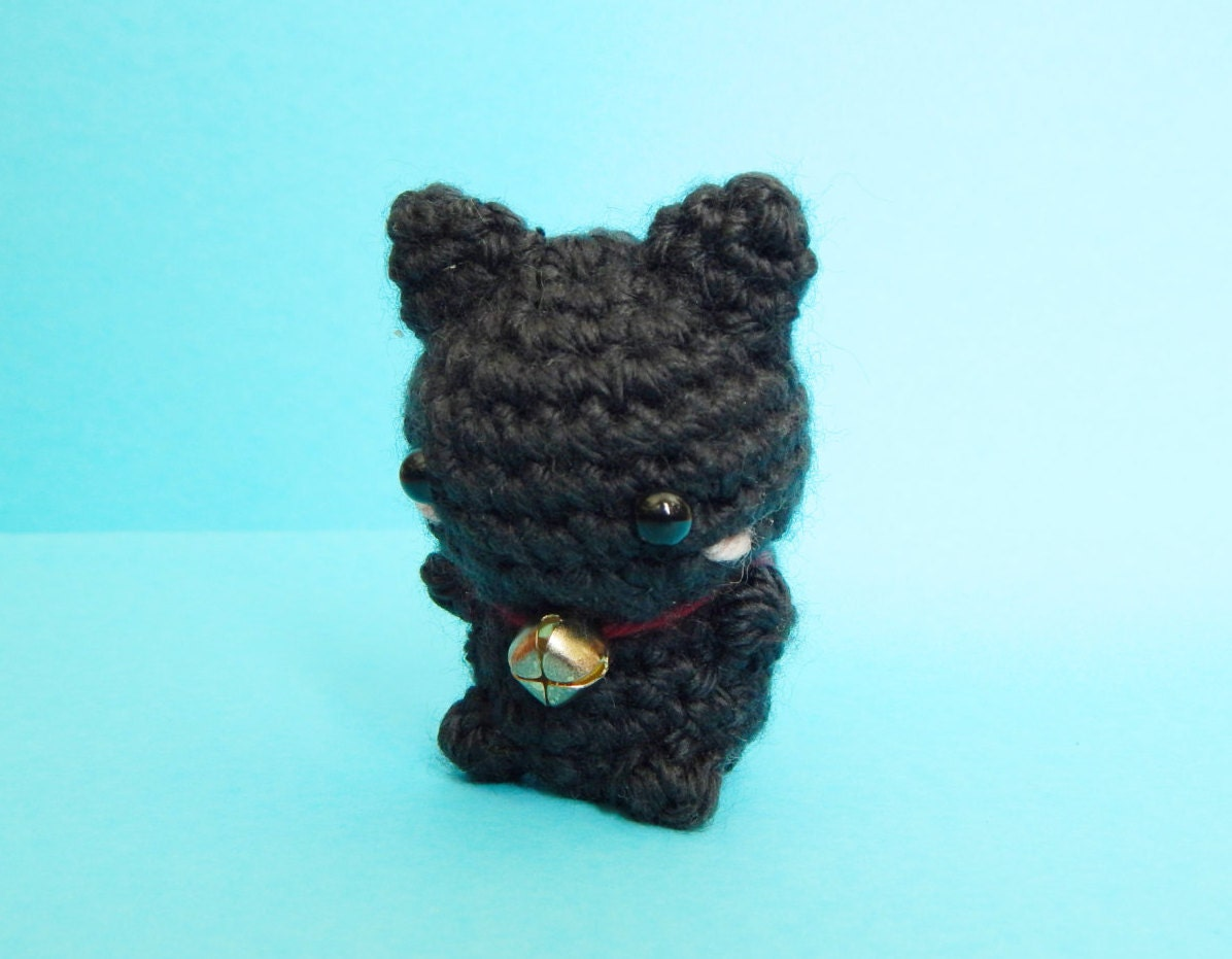 Mini Black Cat Amigurumi Keychain Black Cat Plush Cat