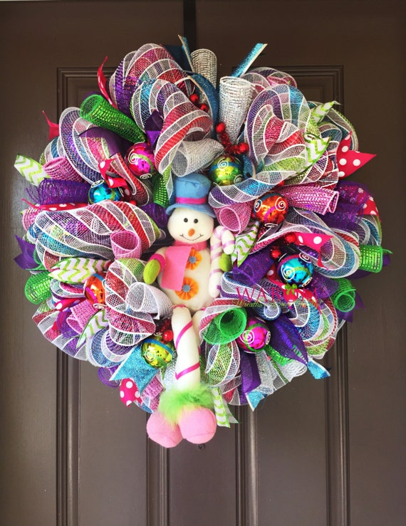 Multi Color Snowman Mesh Wreaths