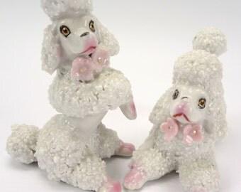 Two Poodle Dog Figurines // Dog figurine // Figurine // Set of Poodles // Vintage dog // Vintage Home Decor // White Poodles with Pink Trim