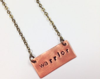 Warrior and Spoonie Necklaces - Hand Stamped, Silver, Gold, Rose Gold