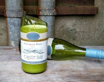 Oyster Bay Recycled Glass Wine Bottle Soy Wax Candle, Fun and Unique Wine Decor