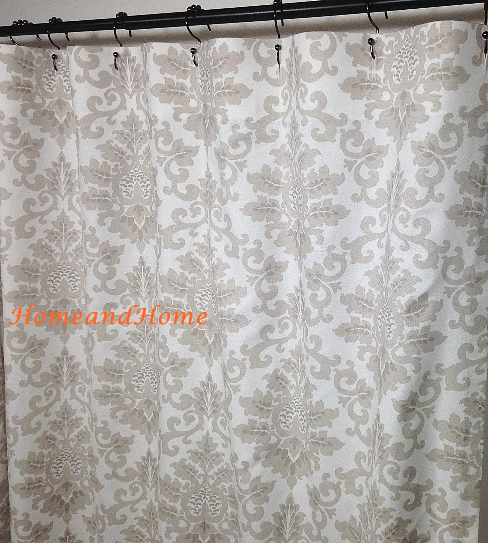 Fabric Shower Curtain Custom Cecilia Ecru Taupe Gray White 72