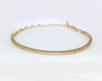 Gold diamond bangle bracelet -pave diamond cuff bracelet-infinity cuff bracelet-14k gold diamond bracelet-pave diamond bracelet- bracelet