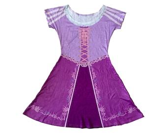 Adult Rapunzel Inspired Short Sleeve Skater Dress
