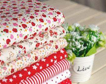 Red series floral dot stripe cotton fabric bundle patchwork fabric bundle Quilted bundle doll's clothes fabric (8pcs/set)