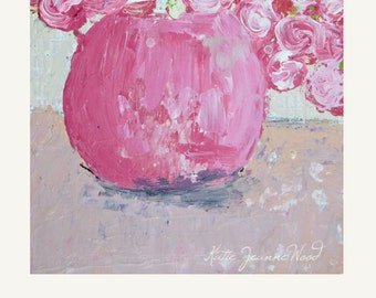 Pink Flower Painting Print. Still Life Floral Print. Bouquet Pink Roses Print. Cottage Chic Floral Prints. Romantic Art Gift. 145