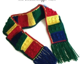 Lego Kids Scarf Blue Green Yellow Red in Color with Fringe l Crochet Fun Childrens Scarf Handmade Winter Accessories Made to Order