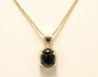 10k yellow gold 4-prong set 8x6mm oval cabochon black onyx necklace