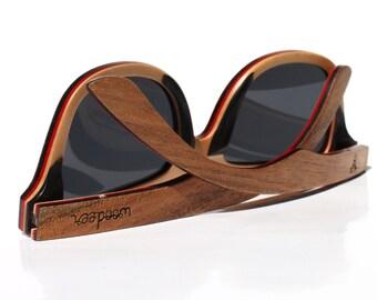 Skateboard Wood Sunglasses t by WOODEER