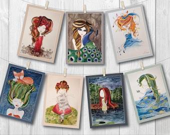 Postcard set - 7 prints of original watercolor illustrations