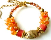 Bright orange Cateye bracelet Jasper beads bracelet Cheerful chunky bracelet.Chain gold metal Gorgeous gift for young girl Valentines gift