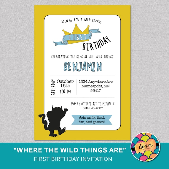 Where The Wild Things Are First Birthday Invite Wild Things