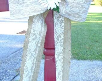 Burlap and Lace Bow, Burlap Bow, Burlap Wedding Bow, Burlap Mailbox Decoration