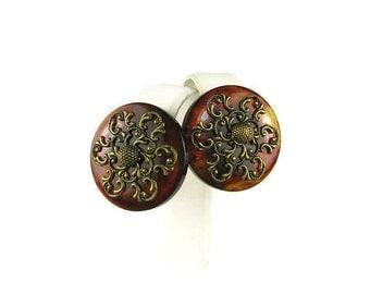 Brown Swirl Bakelite Earrings