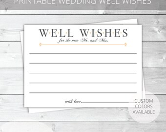 Peach/Gray Printable Well Wishes Card | Classic | Jennifer Collection | Custom Colors Available