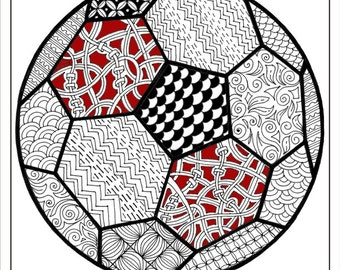 adult coloring page football coloring page for adultssoccer ball coloring instant soccer - Printable Coloring Pages Football
