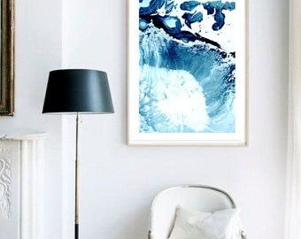 Waves X Print (Paint, Acrylic, Abstract, Fluid Painting, Wall Art, Home Decor, Unframed or Framed print)