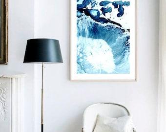 Waves X Print (Paint, Acrylic, Abstract, Fluid Painting, Wall Art, Home Decor, Unframed or Framed print)