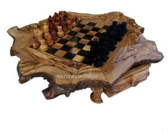Birthday gift / wedding anniversary/ Olive wood  chess set rustic board 20 Inches, Stand 23 Inches / Original present