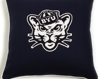 BYU (Brigham Young University) Cougar Officially Licensed Wool Letterman Pillow 18x18