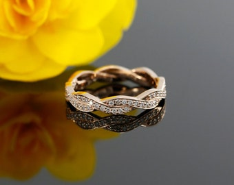 Infinity Diamond Wedding Band in Gold, Bead set Wedding Ring (available in white gold, rose gold, yellow gold and platinum)
