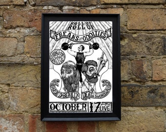 Freak Show Poster - Illustrated A4 Print