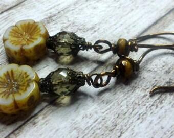 Bohemian Earrings, Yellow Flower Earrings, Czech glass Earrings, Earthy Rustic Boho, Bronze Earrings, Handmade Jewelry by Salakaappi