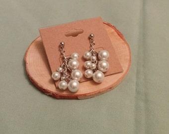 Faux pearl cluster earrings