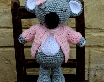 Handmade, crocheted toy koala bear for children and babies in pink and grey
