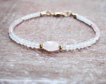 Rose Quartz Bracelet, Gold Rose Quartz and Moonstone Bracelet, Beaded Gemstone Bracelet, 14k Gold Filled Healing Stone Jewelry