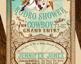Cowboy Baby Shower Invitations Printed Vintage Western Stork Rodeo