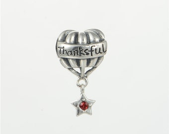sterling silver charm for bracelets fits authentic pandora and european bracelets thankfull balloon