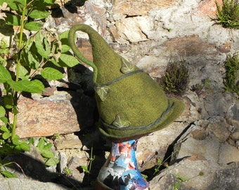 Felted elf pixie cosplay fantasy hat green brown woodland natural wool with ivy leaves READY TO SHIP