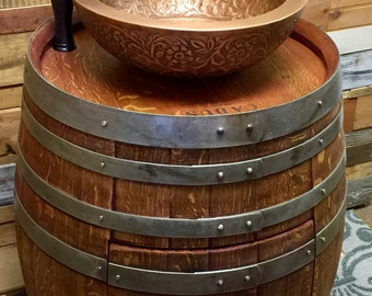 Special Reserve Wine Barrel Bathroom Vanity With Double Wall Copper Vessel  Sink / Antique Waterfall Faucet