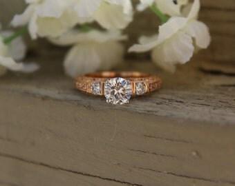 Black Friday Deal, 1 Carat Forever One Moissanite & Diamond Antique-Style Engagement Ring 14k Rose Gold Diamond Engagement Rings Vintage