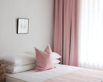 Pale Pink Solid Blackout Curtains