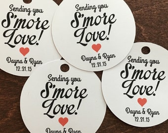 Smore Wedding Favor Tags, Ties & Bags - S'more Love Favor Tags