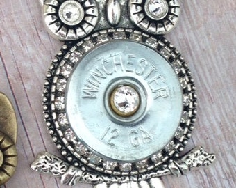 Owl Shotgun Shell Pendant Necklace in Antiqued Silver, Women's jewelry,  Bullet jewelry, Handmade jewelry