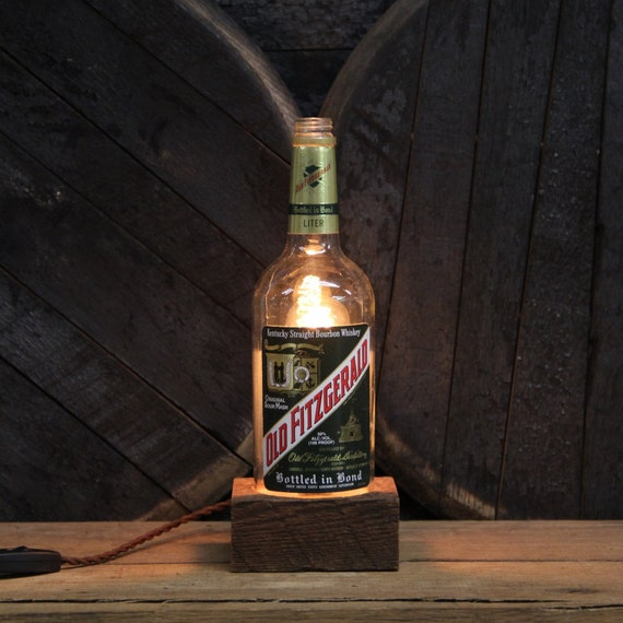 Handmade Recycled Old Fitzgerald Bourbon Bottle Lamp-Features Reclaimed Wood Base, Edison Bulb, Twisted Cloth Wire, In line Switch, And Plug