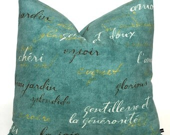 French script pillow cover Waverly words writing aqua white brown yellow 12x16 12x18 toss cushion sofa throw #421 FlossieandRay