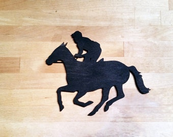 Laser cut Horse and Jockey wood cut out