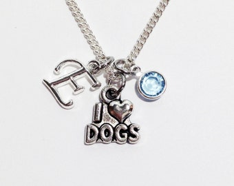 I Love Dogs Necklace, Dog Lover Gift, Initial Necklace, Dog Necklace, Initial Charm Necklace, Personalized Jewelry, Dog Jewelry